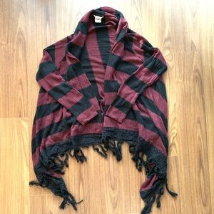 O'Neil black and red striped cardigan size M